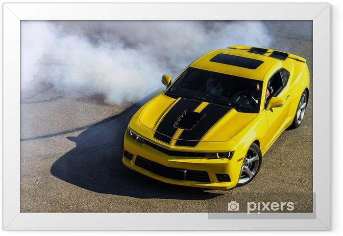 Plakat w ramie Żółty samochód sportowy luksus - Transport drogowy