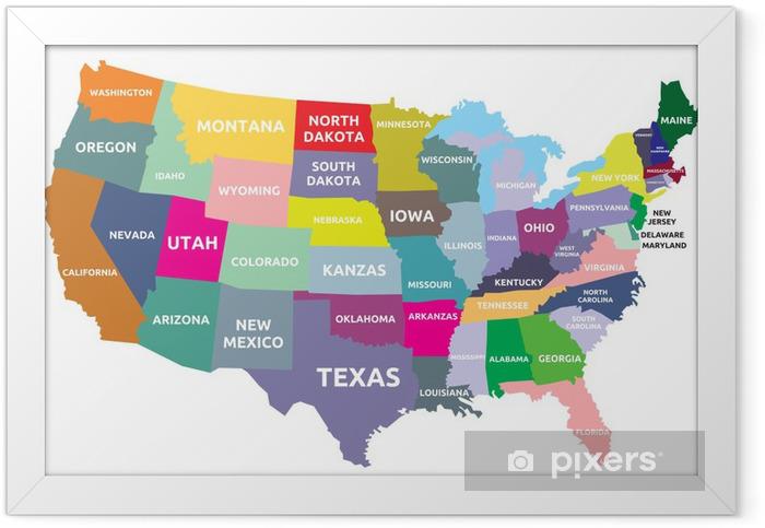 Ingelijste Poster USA kaart met staten - Thema's