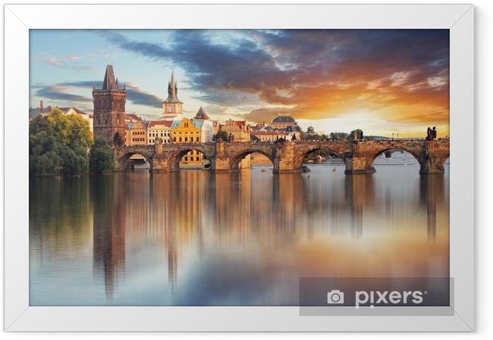 Ingelijste Poster Praag - Charles bridge, Tsjechië - Praag