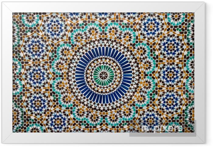 Plakat w ramie Marokański rocznika tło płytek - Mozaika