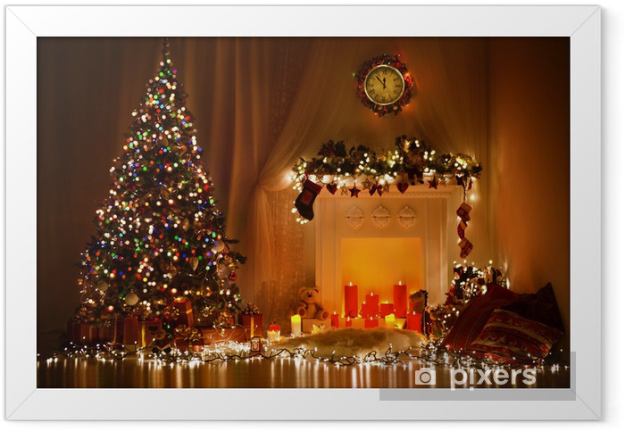 Christmas Room Interior Design, Xmas Tree Decorated By Lights Framed Poster - Christmas