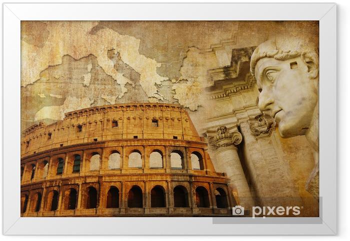 Plakat w ramie Wielkie Imperium Rzymskie - koncepcyjny kolaż w stylu retro - Miasta europejskie