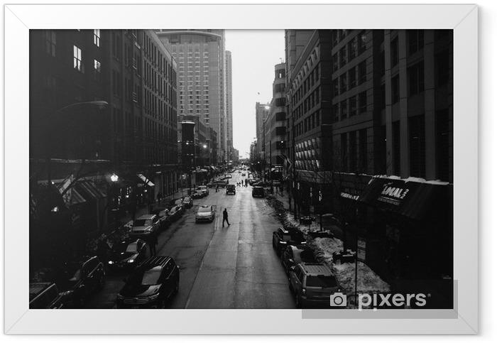 Plakat w ramie Czarno-Białe Ulice Chicago - Budynki i architektura