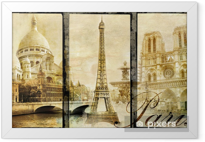 old Paris - vintage collage Framed Poster - Styles