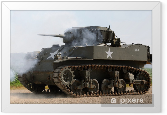 Poster en cadre La Seconde Guerre mondiale ère de tank de l'armée américaine - Sur la route