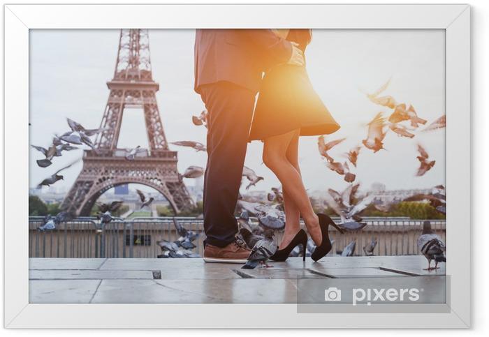 couple near Eiffel tower in Paris, romantic kiss Framed Poster - European Cities
