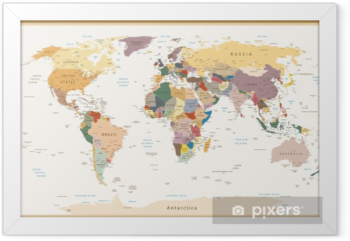 Highly Detailed Political World Map Vintage Colors Framed Poster - Themes