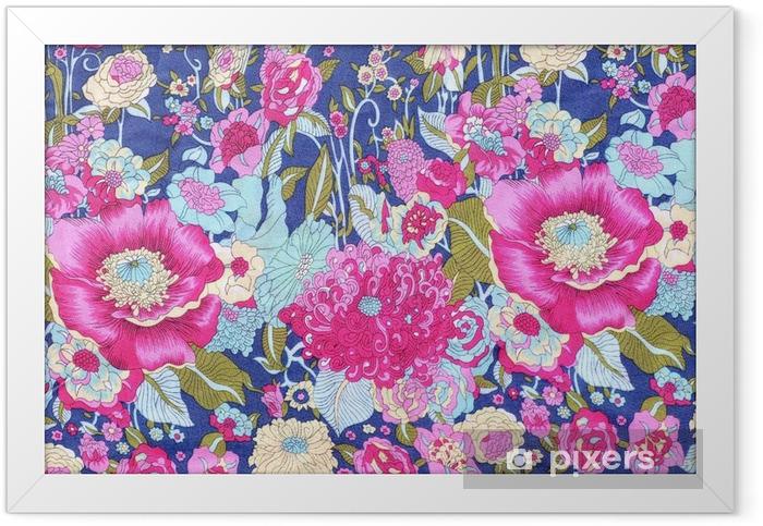 Plakat w ramie Styl vintage Tkaniny kwiatów wzór tkaniny tle - Zasoby graficzne
