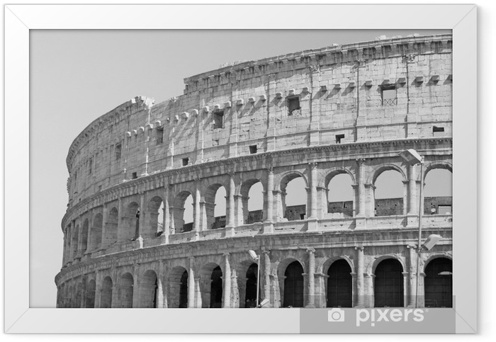 Black and white photo of the great Colosseum in Rome in retro style Framed Poster - Travel