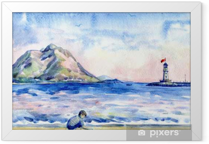 little boy on the beach. Seascape with lighthouse. Watercolor painting Framed Poster - People