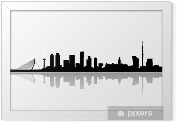 Ingelijste Poster Rotterdam skyline vector - Muursticker