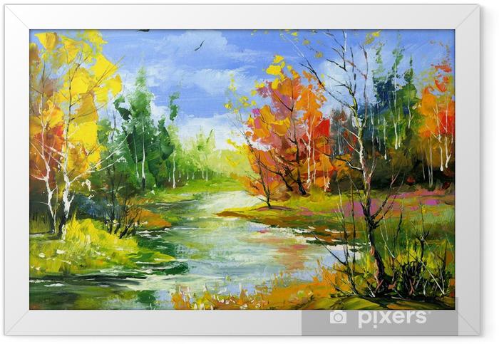 Poster en cadre Paysage d'automne avec la rivière de bois - Styles