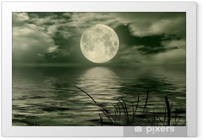 Full moon image with water Framed Poster - Themes