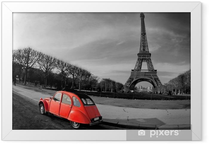 Plakat w ramie Wieża Eiffla i czerwony-paris samochód -