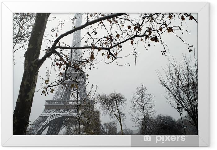 Plakat w ramie Francja Paryż Trocadero pod śniegiem - Tematy