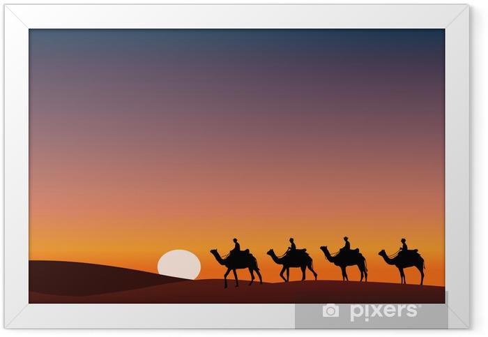 Paysage_Desert_Dromadaire_crépuscule Framed Poster - Deserts