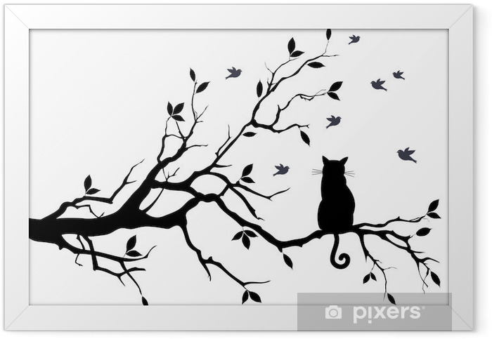 cat on a tree with birds, vector Framed Poster - Science & Nature