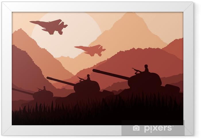 Poster en cadre Chars de l'armée et des avions dans le paysage de montagne - Thèmes