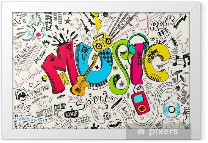 Poster en cadre Musique Doodle - Hip hop