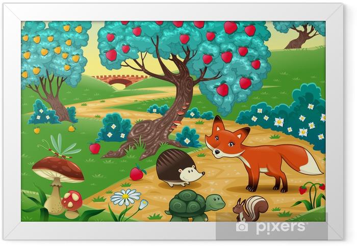 Animals in the wood. Cartoon vector illustration Framed Poster - Preschooler