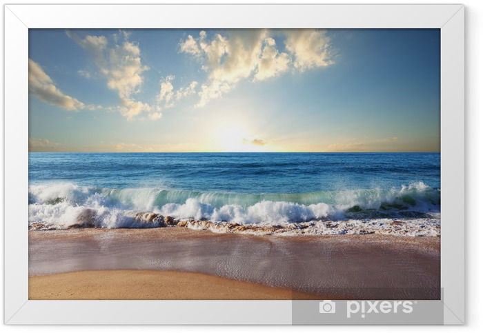 Sunset at the beach Framed Poster - Nature