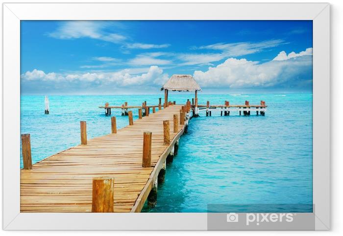 Poster en cadre Vacances à Tropic Paradise. Jetée sur Isla Mujeres, Mexique - Thèmes