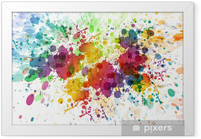 raster version of Abstract colorful splash background Framed Poster - Hobbies and Leisure