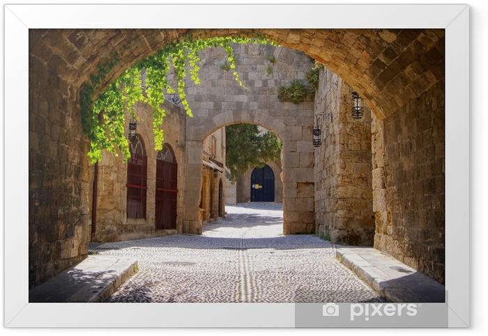 Plakat w ramie Średniowieczne łukowe ulica na starym mieście w Rodos, Grecja - Style
