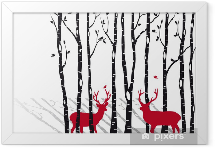 birch trees with christmas deers, vector Framed Poster -