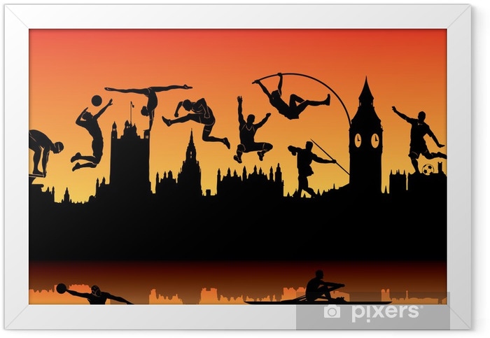 Skyline of London and athletes silhouettes Framed Poster - European Cities