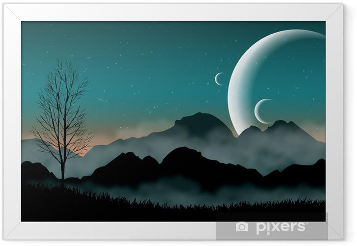Poster en cadre SF espace ciel de nuit avec des montagnes silhouette et planètes proches - Destin