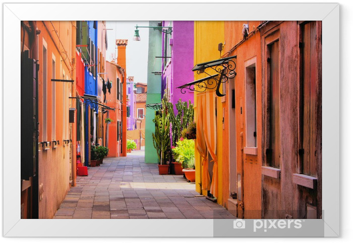 Colorful street in Italy Framed Poster -
