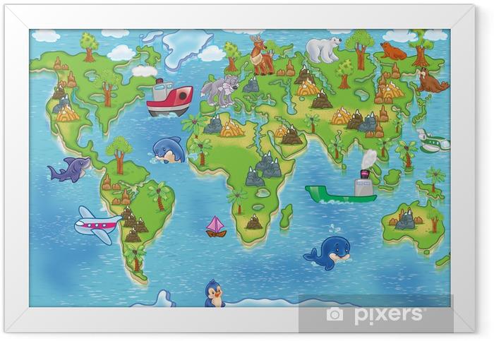 Ingelijste Poster Kids wereldkaart - iStaging