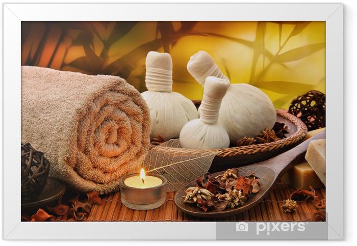 Plakat w ramie Background masaż z toczonymi ręcznik, bale spa i świec - Przeznaczenia