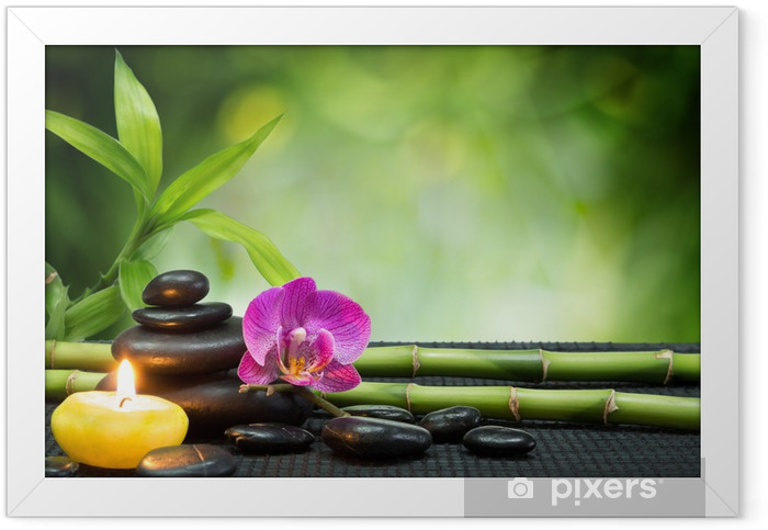 purple orchid, candle, with stones , bamboo on black mat Framed Poster - Themes