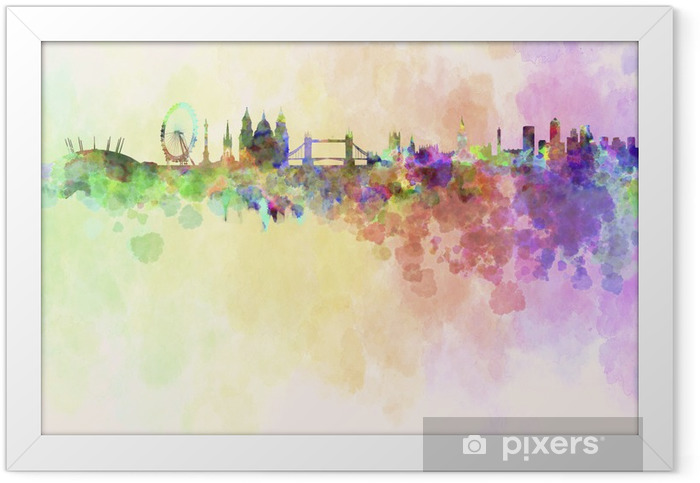 London skyline in watercolor background Framed Poster - Styles