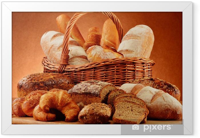 Wicker basket with variety of baking products Framed Poster - Themes