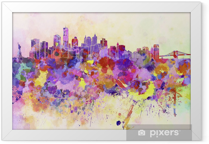 New York skyline in watercolor background Framed Poster - Styles