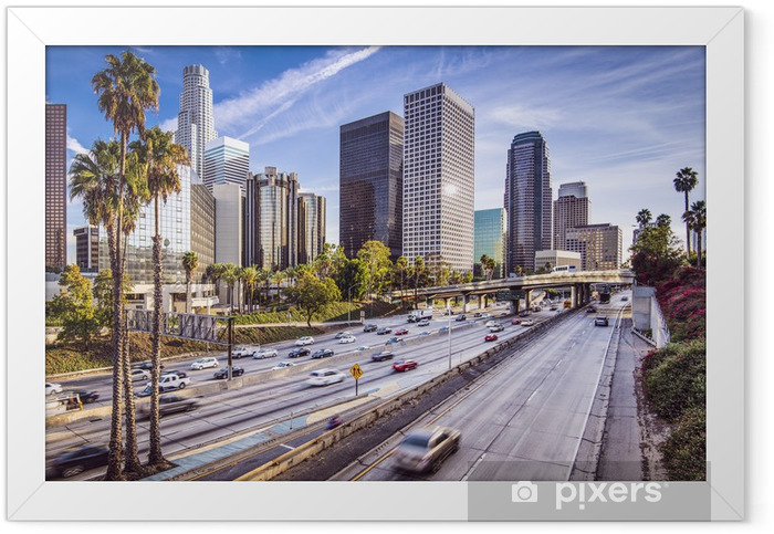 Downtown Los Angeles, California Cityscape Framed Poster - Palm trees