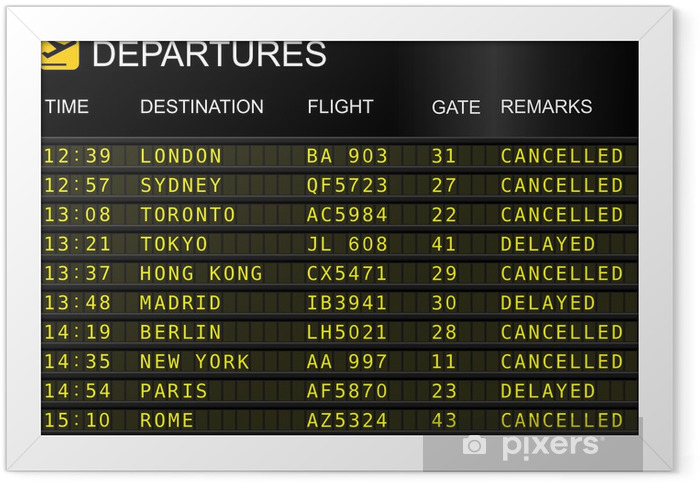 Flights departures board isolated on white background Framed Poster - Air