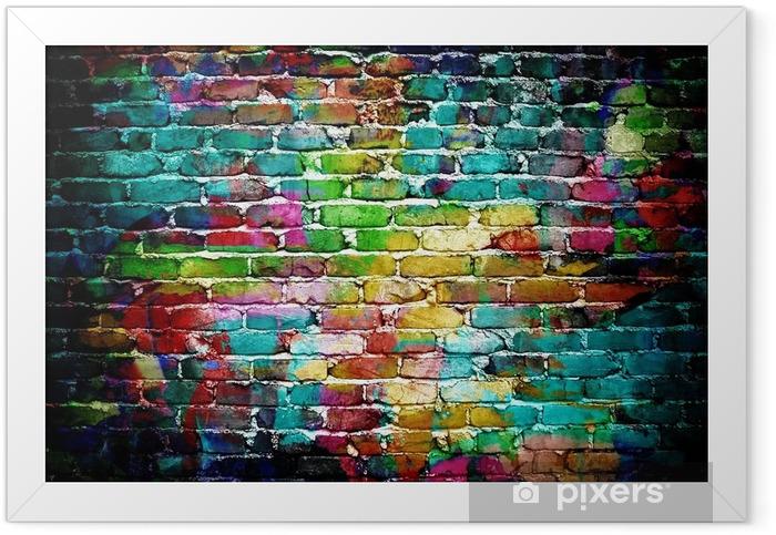 Plakat w ramie Graffiti mur ceglany -