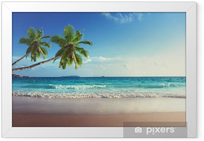 sunset on Seychelles beach Framed Poster - Palm trees