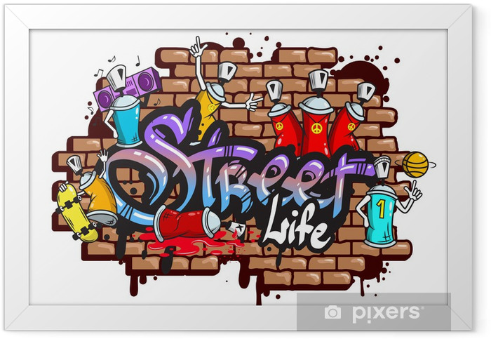 Graffiti word characters composition Framed Poster - Wall decals