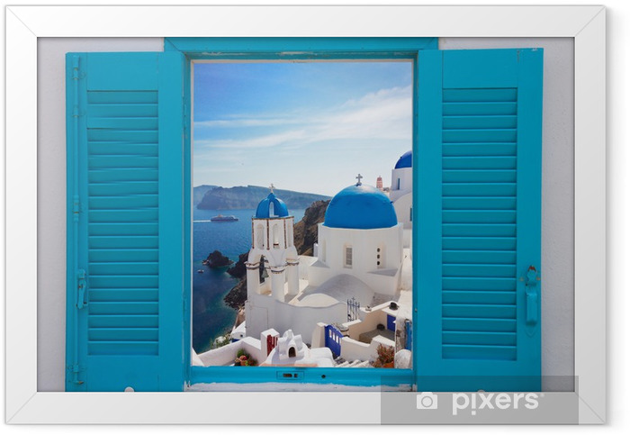 window with view of caldera and church, Santorini Framed Poster - Themes