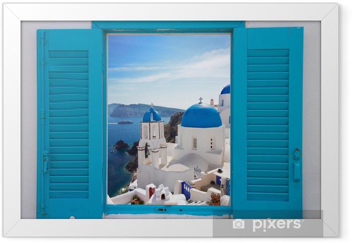 Plakat w ramie Okno z widokiem na kalderę i kościoła, Santorini - Tematy