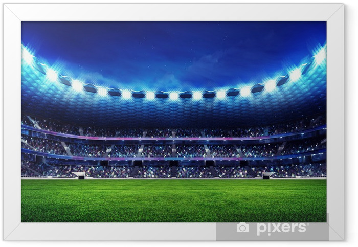modern football stadium with fans in the stands Framed Poster - American football
