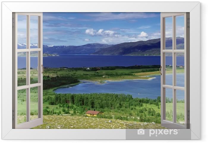 Poster en cadre Vue de la fenêtre ouverte au paysage avec la rivière, les collines et les champs - Thèmes