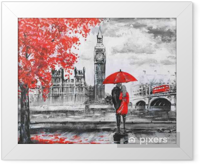 .oil painting on canvas, street view of london, river and bus on bridge. Artwork. Big ben. man and woman under a red umbrella Framed Poster - Travel