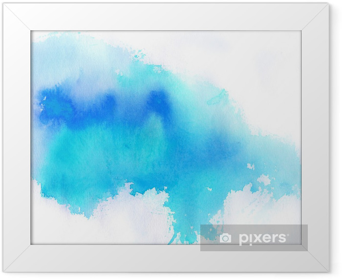 Blue spot, watercolor abstract hand painted background Framed Poster -