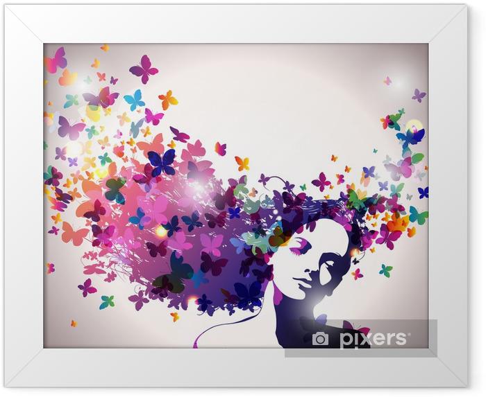 Plakat w ramie Kobieta z motylami we włosach. - Moda